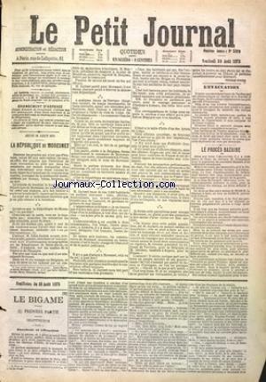 PETIT JOURNAL (LE) [No 3899] du 29/08/1873