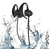 Professionelle IPX8 High-Level Wasserdichte Sport Wireless Bluetooth Headset Ohr Hängen Typ Laufen Kopfhörer Super Mode neue Stil Hai BH802(Schwarz)