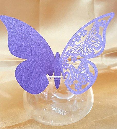 DIKETE 50 Stück Schimmer Hochzeit Tischkarten Namenskarten ans Glas Platzkarten Glasanhänger für Weinglas Cup Champagnerglas Hause Deco (Schmetterling Lila Kostüme)