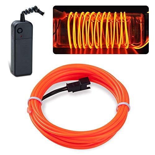 Kostüm Party Und Display - LYCHEE 3M Neon Beleuchtung EL Wire EL Kabel für Weihnachtsfeiern, Rave-Partys, Halloween-Kostüm oder einem Einzelhandelsgeschäft Display (Orange)