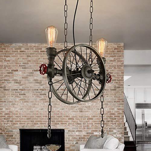 American Retro Industrial Wind Schmiedeeisen Rad Kronleuchter, Kreative Schlafzimmer Wohnzimmer Bar Cafe Kronleuchter Anhänger Beleuchtung Lampen Laternen (Farbe: 2 Lampe) -