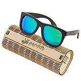 pandoo Bambus-Sonnenbrille mit Brillen-Etui, Schraubenzieher und Tasche - polarisiert & UV400 - Verspiegelte Gläser Türkis & dunkler Bambus Rahmen - Holz / Damen / Herren / Unisex / Sport / UV-Schutz / polarized