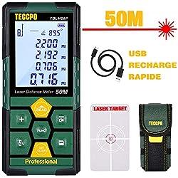 Télémètre laser 50m TECCPO, USB 30mins Charge rapide, Capteur d'angle électronique, 99 stockage, 2.25'' LCD rétro-éclairé mute fonction, mesure Distance, Surface et Volume, IP54, trépied, TDLM26P