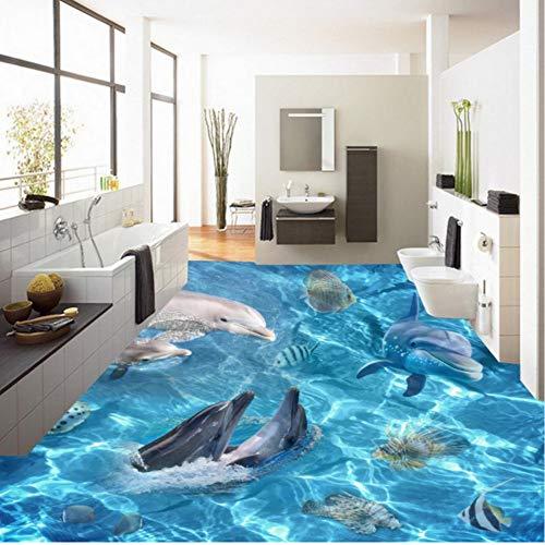 Rureng Benutzerdefinierte Hd Ocean World Dolphin 3D Stereo Boden Malerei Selbstklebende Wohnzimmer Einkaufsraum Bodenbelag Tapete-400X280Cm