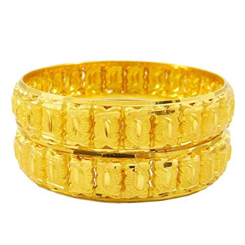 Indianbeautifulart 18k Gold überzogene Brautarmband indische Hochzeit Armband 2 * 6 Geschenk für Frauen eingestellt