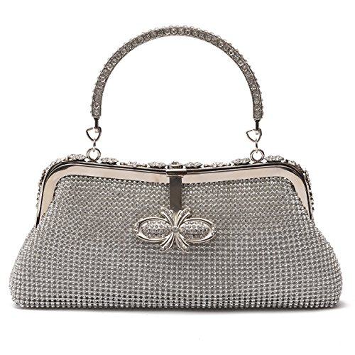 Crystal Abend Clutch Bag (Frau Schmetterling Crystal Clutch Handtasche Strass Abend Handtasche (Silber))