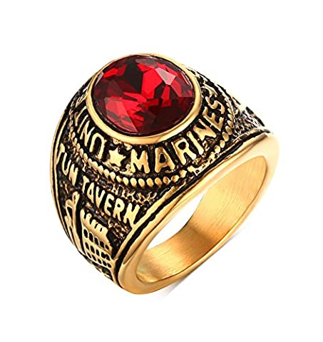 Vnox Men's Stainless Steel Red Crystal Stone Navy Veteran Ring Vintage Jewelry Gold UK Size X 1/2