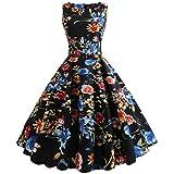 BringBring Damen Vintage 1950er Jahre ärmelloses Land Kleid Hepburn Cocktailkleid (XL, Black A)
