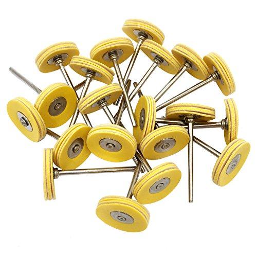 Niupika montierte Polierräder aus Leder, mit Spanndorn, für Dremel-Drehwerkzeuge mit 2,35-mm-Schaft, 20Stück