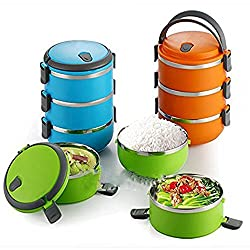 Absales 3 Layer Stainless Steel Portable Heat Preservation Barrel Lunch Box Camping Large Capacity Picnic Box Insulation Barrels Removable Sealed, Multi Colour (15X15X21.5 Cm)