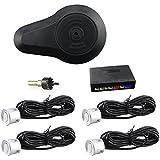CAR ROVER® Sensor Aparcamiento Kit 4 Sensor Marcha Atras con Zumbador Bibi Alarma de Sonido (Plata)