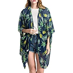 Adelina Bikini Cárdigan Mujer Primavera Verano Ropa Delgado Blusa Vestido Estampadas Piña Medias Mangas Beach Transparentes Cubrir Respirable Anchos Outerwear (Color : Grüne, Size : One Size)