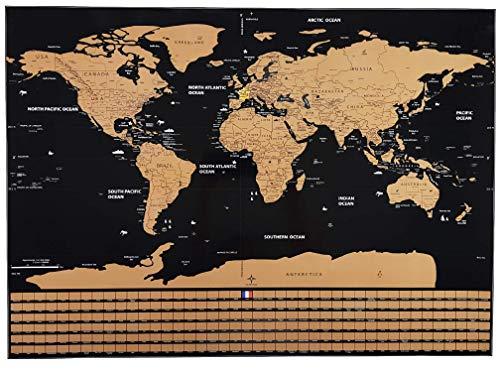 Weltkarte zum Kratzen | Wandplakate und Dekorationen XXL dick und laminiert schwarz und gold | inkl....