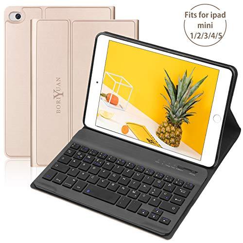 BORIYUAN Tastatur Hülle Kompatibel für ipad Mini 5/4 / 3/2 / 1 - Magnetischen Schlaf/Wach mit Abnehmbar German Tastatur - Gold - Ipad Mini Für Tastaturen Das