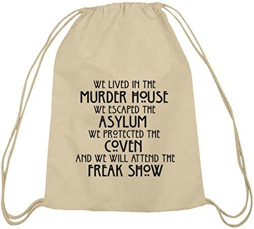 Shirtstreet24, AHS - We Lived In The Murder House, Baumwoll natur Turnbeutel Rucksack Sport Beutel Natur