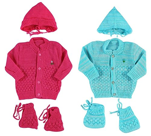 EIO Born Baby Woollen Knitted Set for (0-3 Months) (EIO, Strawberry Turquoise) - 3Pcs Suit, Pack Of 2