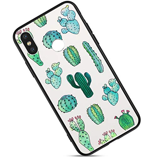 Brillante Funda Compatible con Xiaomi Mi 8 Carcasa Silicona Suave,Bling Glitter Flores Mariposa Pintado Patrón Cubierta Blanco Silicona TPU y PC Ultra Delgado Anti-Rasguño Case.Cactus