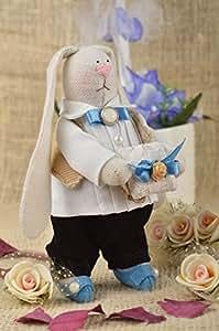 Tissu doudou fabriqué à la main Coussin rond pour mariage original Doudou Lapin