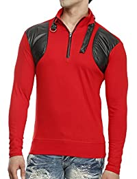 Tees Collection Men's Leather Flap Dragon Neck Red Color Full Sleeve T-shirt
