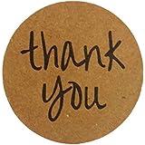 2.5cm Gracias Etiquetas de Agradecimiento - Kraft, Paquete de 1000