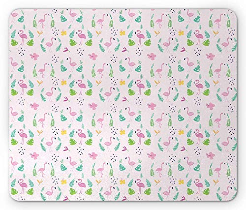 WYICPLO Flamingo Mouse Pad, Tropic Accents with Exotic Plant Animal Caribbean Vibes Childish Doodle, Standard Size Rectangle Non-Slip Rubber Mousepad, Baby Pink Multicolor