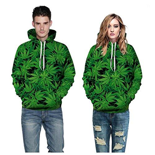 Herren Sportbekleidung Lange Ärmel Sweatshirts Paar Hoodies 3D Bedruckt Cannabis Blätter Beiläufig Pullover Drawstring Kapuzenpullover mit Große Taschen (S M L XL 2XL 3XL),Couple Hoodies,l/XL -