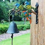 Campana per cena da esterno per interno Rustico Retro Ghisa campanello Parrot casa murale decorazione del giardino Campana da parete in ghisa resistente ( Color : Multi-colored , Size : Free size )