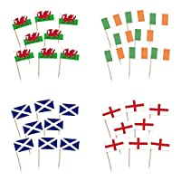 by Robelli Pack of 200 England, Ireland, Scotland, Wales Cocktail Picks for Cupcakes, Canapés etc