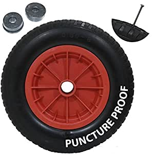"""Garden mile® New 14"""" Red PU Puncture Proof Wheelbarrow Wheel Tyre Solid Lightweight Foam 3.50 - 8 NOT FOR HIGHWAY USE"""