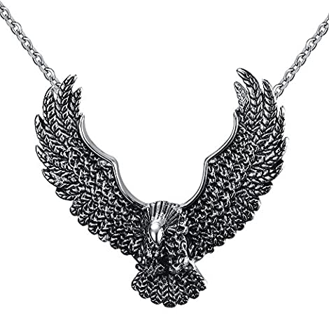 Vnox Men's Stainless Steel Retro Explosion Models Exaggeration Flying Eagle Pendant Necklace Silver Black,Free