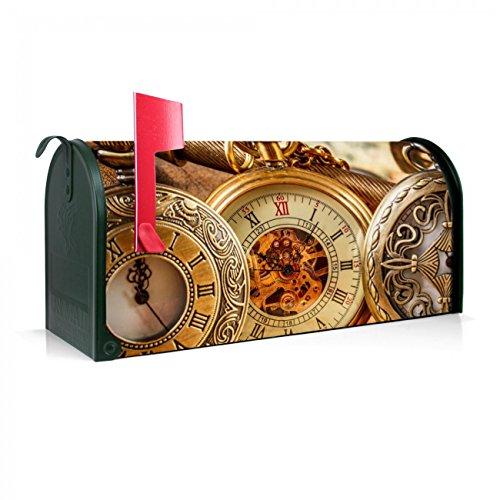 BANJADO US Mailbox | Amerikanischer Briefkasten 51x22x17cm | Stahl grün mit Motiv Taschenuhren