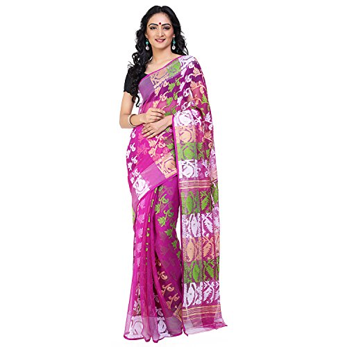 Tanya Purple Soft Muslin Jamdani Saree with Green and White Floral Pattern