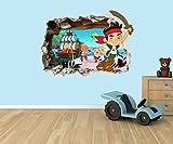 Jake und die Nimmerland Piraten 3D Effekt zerstörten Loch in Wand Vinyl Aufkleber–geeignet für Kinder Schlafzimmer Wände, Türen und Fenstern., plastik, Large 55 x 40 cm
