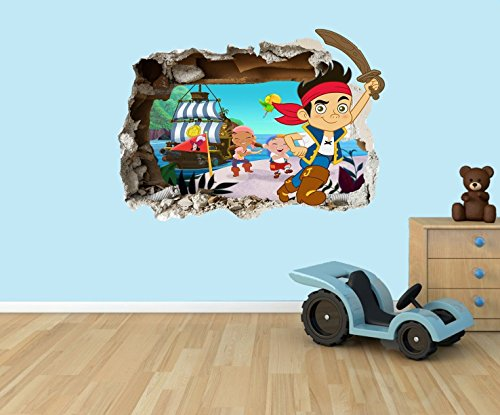(Jake and the Neverland Pirates 3D effect smashed hole in wall vinyl sticker - suitable for Kids Bedroom walls, doors and glass windows. (Extra Large 80 x 55cm) by PPS)