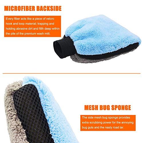 laonBonnie Autowaschhandschuhe Autozubehör Mini Weiche Mikrofaser Samt 20x20 Autowaschhandschuhe Grau & Blau -