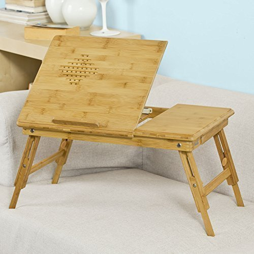 SoBuy Tavolino pieghevole e portatile da letto, oppure per Pc, altezza regolabile, frabbricato in bambù,Colore: Naturale FBT04-N