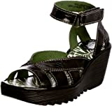 FLY London Yossa P500277011 - Sandalias de cuero para mujer, color negro, talla 40