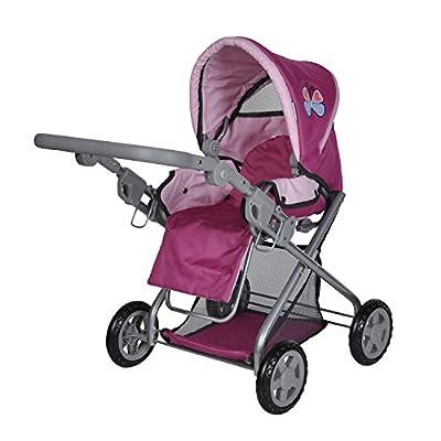 Knorrtoys 61888 - Cochecito de paseo Kyra para muñecas con diseño rosa de mariposas y altura ajustable (a partir de 3 años) por Knorrtoys.com