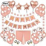 Decorazioni per Feste di Compleanno Kit in Oro Rosa - Pacchetti di Forniture per Feste per Donna Uomo Bambini, Happy Birthday Striscioni Star Banner Foil Coriandoli Palloncino e Tovaglia Usa e Getta