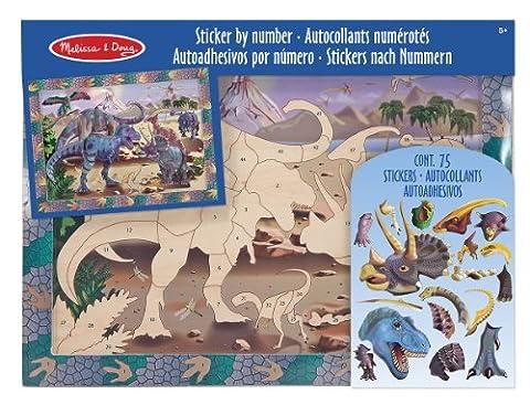 Melissa & Doug Peel and Press Sticker by Number Activity Kit: Dinosaur Dusk - 70+ Stickers, Frame