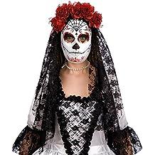 Máscara blanca decoración negro y el esqueleto rojo mexicano con flores rojas y velo de encaje negro mantilla [00173]