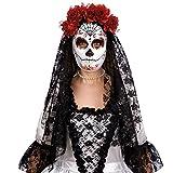 Carnival Toys Máscara blanca decoración negro y el esqueleto rojo mexicano con flores rojas y velo de encaje negro mantilla [00173]