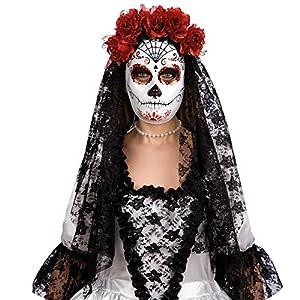 Carnival Toys Máscara blanca decoración negro y el esqueleto rojo mexicano con flores rojas y velo de encaje negro mantilla 00173