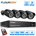 FLOUREON CCTV Security Camera Systems 8CH 1080N AHD DVR Kit 1TB HDD + 4x 1080P 3000TVL 2.0MP Outdoor Cameras Support TVI/CVI/AHD/Analog/ONVIF IP Camera/P2P Remote Access/Motion Detection/Night Vision