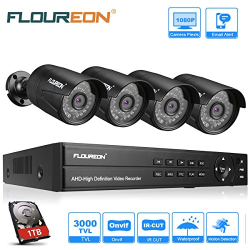 FLOUREON Videoüberwachung 8CH AHD 1080N ONVIF DVR Recorder mit 1T Festplatte + 4 x 3000TVL 2.0MP 1080P Überwachungskamera CCTV Wasserdicht Sicherheitskamera P2P Bewegungsmelder