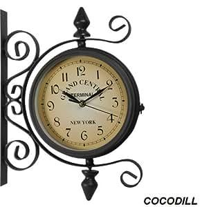 Horloge murale pendule rétro de gare double face design vintage N.Y Central 20CM