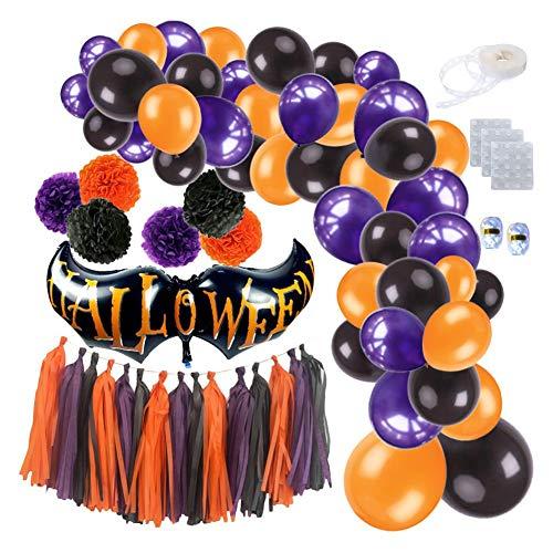 chenut Halloween Party Dekoration Luftballons 85 Stück Party Ballone mit Latexballons, Folienballons, Pompons aus Papier, Quastengirlande Halloween Hanging Party Dekoration Lieferungen
