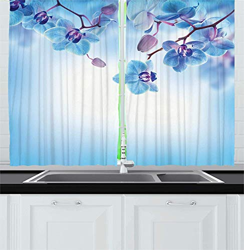 Hmihilu Flower Kitchen Curtains, Orchids Natural Flowers Reflections on The Water for Spring Calming Art, Window Drapes 2 Panel Set for Kitchen Cafe Decor, Blue Purple 110x74 in -