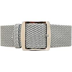 DaLuca Braided Nylon Perlon Watch Strap - Grey (Polished Buckle) : 18mm