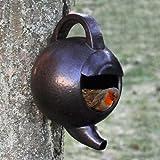 Garden Wild Bird Teekanne Nistkasten glasierter Keramik nestplatz Rustikal Braun Finish